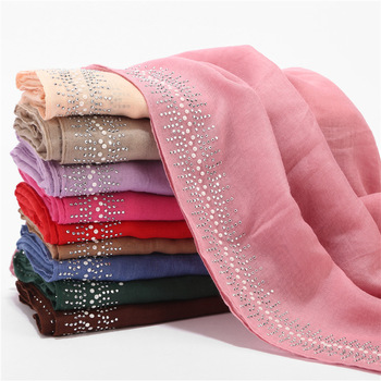 Hot-selling Solid Color Diamonds Grilled Poria Female Quality Plain Cotton Hijab muslim women scarf