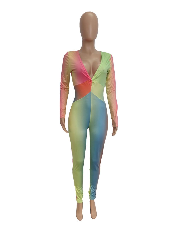 XM-2021011425 2021 günlük bayanlar tulum baskı sıska uzun kollu tek parça bahar kadın tulum