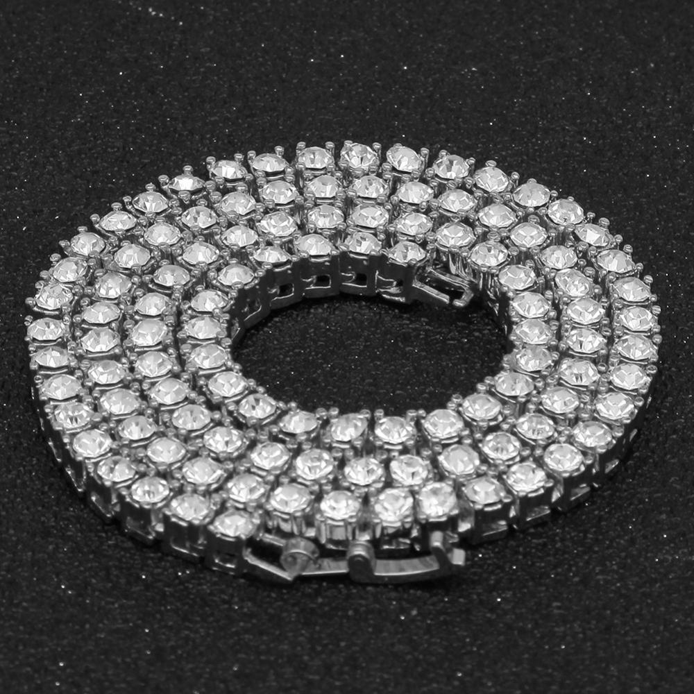 США и Европа новый тренд 3 мм 4 мм мужской хип-хоп Золото Серебро пластина сплав Стразы кубинское звено теннисная цепочка Ожерелье