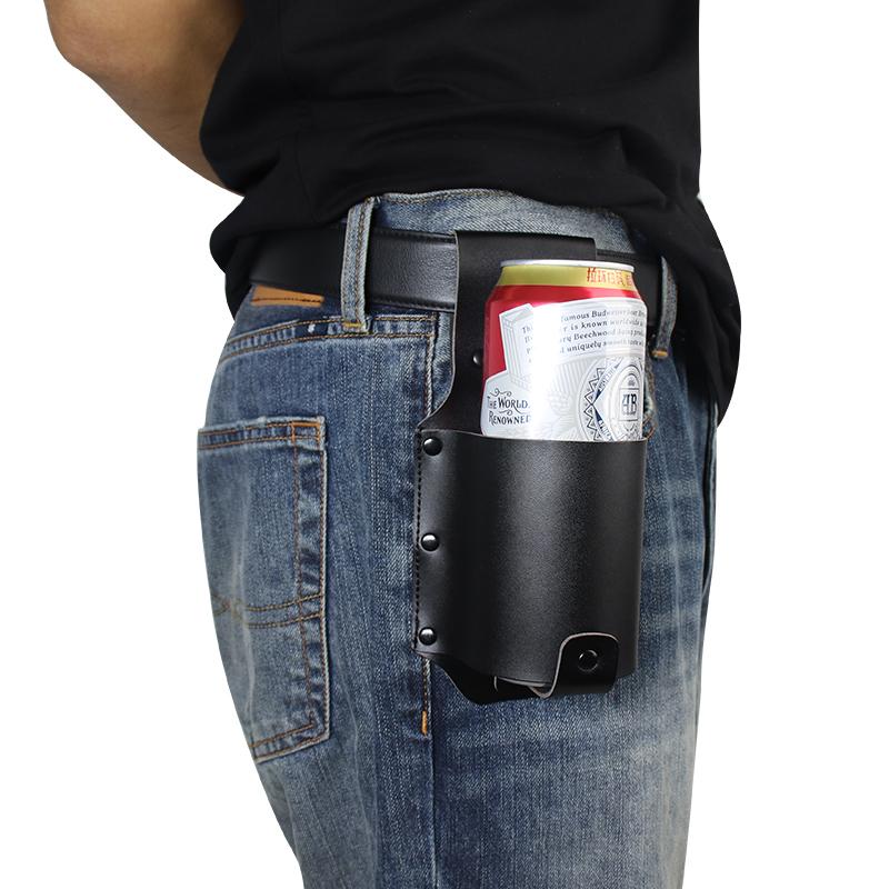 Пользовательские портативные банки для бутылок с газированной содой из искусственной кожи, поясной держатель для пива