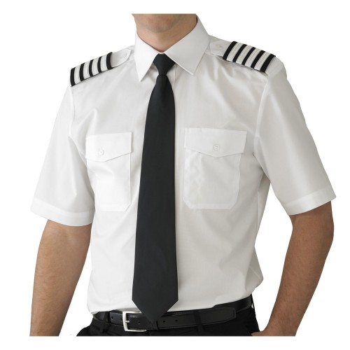 100% Cotton White Shirt With Epaulettes Security Guard Uniforms