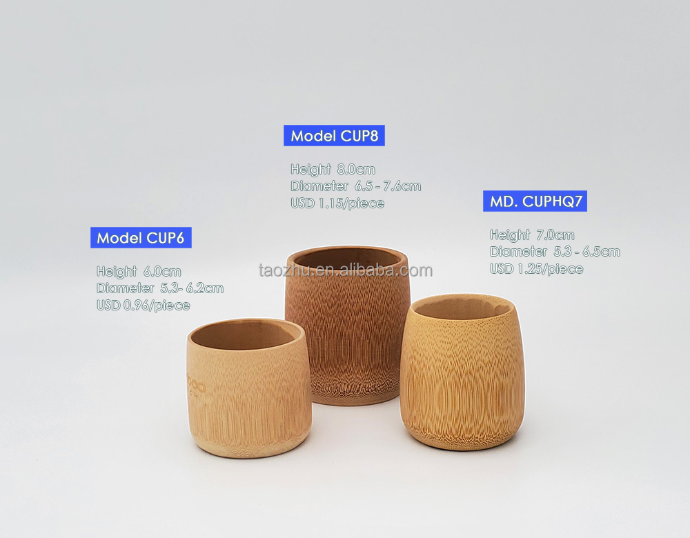 Natural Bamboo mug with customized logo height 6.0cm Biodegradable bamboo coffee cup