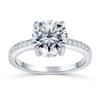 21;Platinum;four claw round row diamond ring
