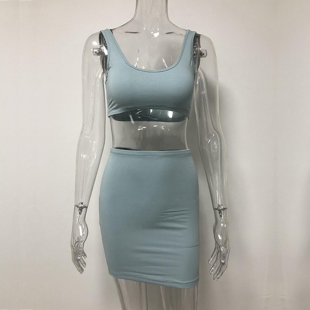 Комплект из 2 предметов, женские костюмы, летний женский костюм, женская летняя юбка + рубашка, женская одежда без рукавов с круглым вырезом, ...(Китай)