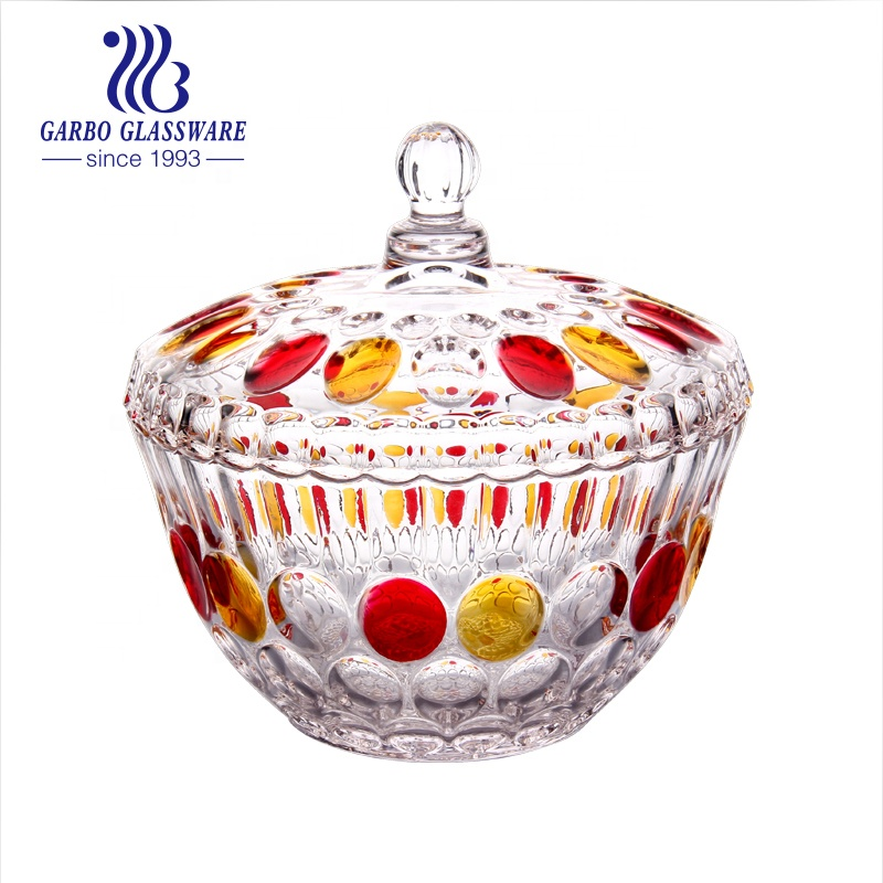 Amber Color Gold Plating Glass Candy Sugar Sweet Jar For Home Decoration GB1811YD-DDD