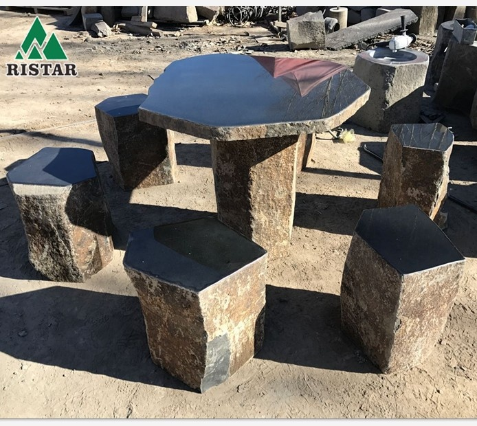Outdoor Natural Basalt Stone Table And Chairs Seats Or Stools Buy Basalt Table Basalt Chair Garden Table Product On Alibaba Com