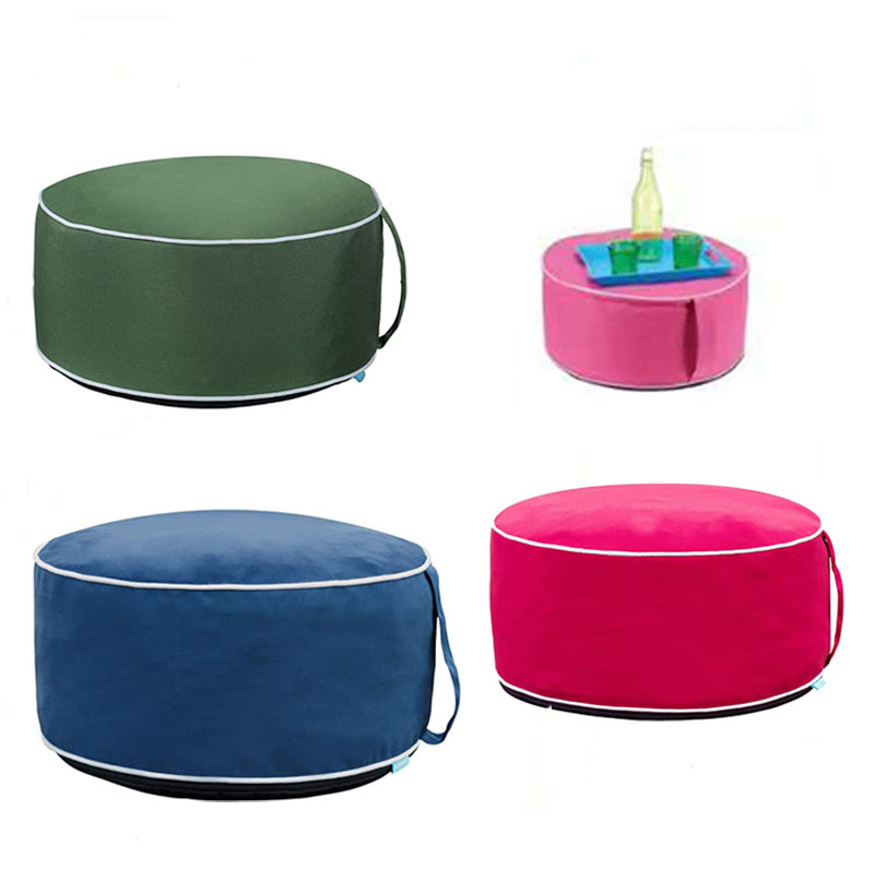 Outdoor Inflatable Round Stool Chair with Portable Air Pump Foot Rest for Patio Garden Camping