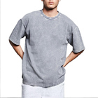new fashion Men Blank Plain Acid Wash Distressed Knit Tee Oversized casual men T Shirt