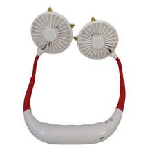 Портативный мини-вентилятор для шеи с USB, без рук, Круглый Вентилятор с воздушным охлаждением, перезаряжаемый маленький электрический конди...(China)