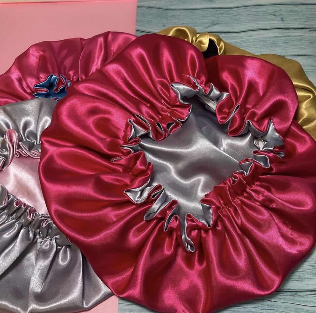 Best selling silk bonnet double layer satin bonnets with logo adjustable hair bonnet satin