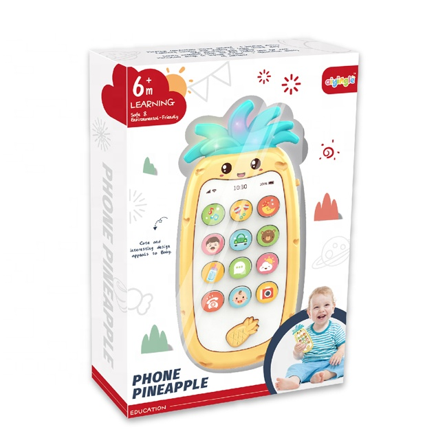 Baby phone pineapple 13 buttons simulation red yellow green cute kid mobile phone with window box