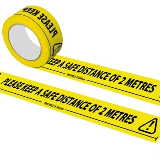 Yellow Safety warning tape Social Distance Floor tape Stickers, warning barrier tape 33m x 48mm