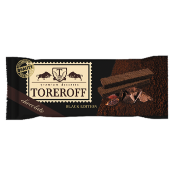 160 gr TOREROFF black chocolate flavor crispy wafer biscuits