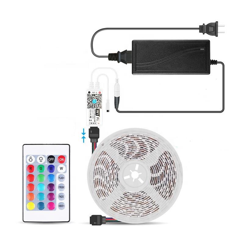 Amazon Alexa Google Home Tuya Wifi blue tooth rgb led strip kit set 5050  flexible 5m light strip set  with remote controller