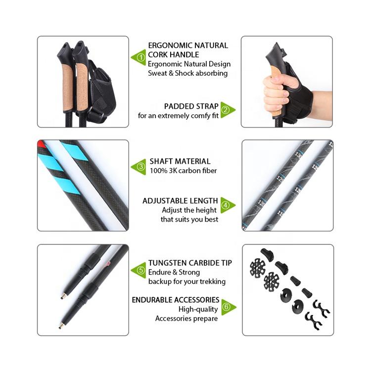 2-х секционный пробковая ручка труба из углеродистого волокна 3K из углеродного волокна Выдвижной Телескопический пешеходные палки для северной ходьбы