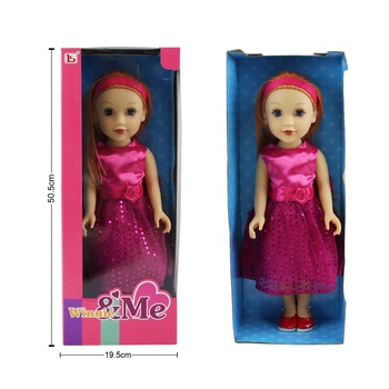 Beautiful girl with headband pink dress gold hair cute loli 18 inch doll for Christmas Gift