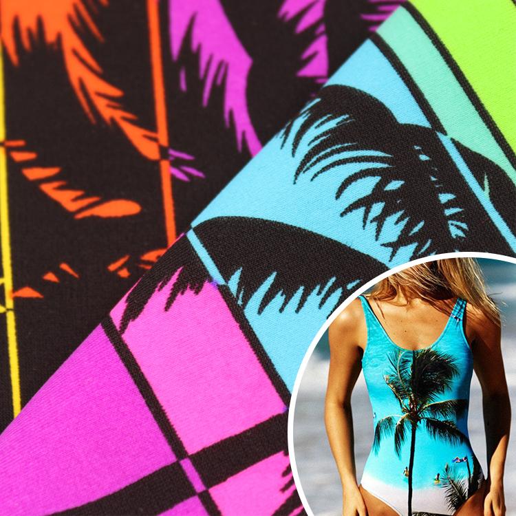 Цифровой принт 82% г/м2 18% нейлон спандекс пользовательский Печатный купальник ткань многоцветный мягкий UPF 50 + 4 направления стрейч одежда для купания ткань