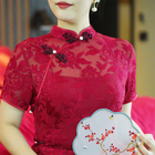 Dress Handmade Chinese Wine Red Sexy Long Lace Ethnic Wedding Clothing Women Silk Cheongsam Qipao Dress