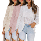 Blouses Tops New Design Solid Color Long Sleeve Vintage Sweatshirt Lace Lantern Sleeve Blouses Elegant Women Tops