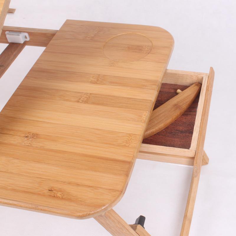 Бамбуковый деревянный стол для ноутбука с откидной крышкой и выдвижным ящиком