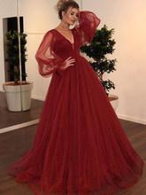Женское платье-Кафтан Smileven, бордовое ТРАПЕЦИЕВИДНОЕ вечернее платье с пышными рукавами, вечернее платье с v-образным вырезом в арабском сти...(Китай)