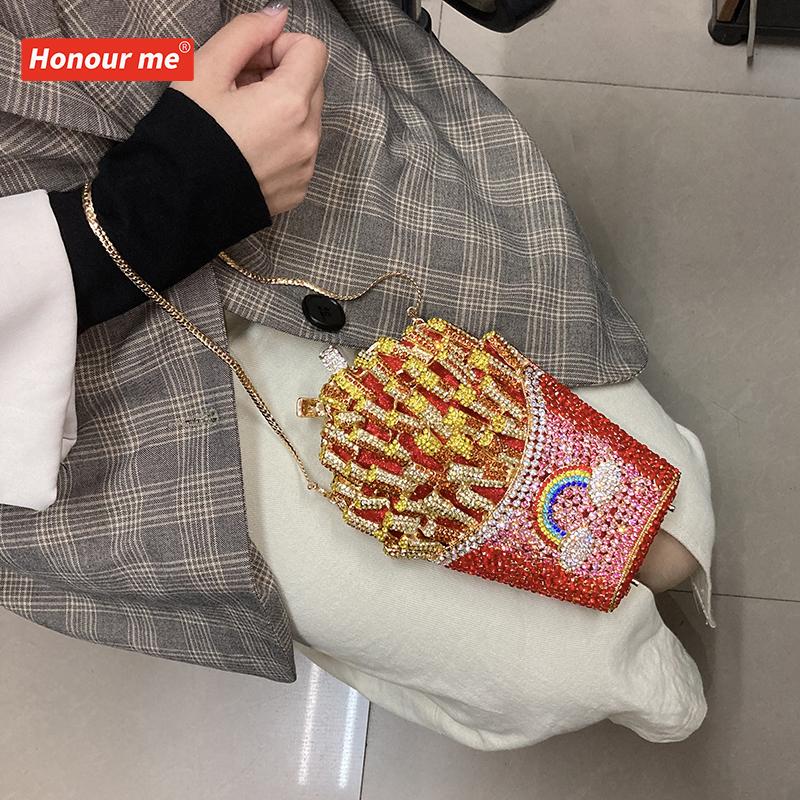 Блестящий металлический Вечерний Клатч высокого качества, роскошная сумка для ужина, сумка-Кроссбоди с картофелем фри и стразами, Свадебный Кошелек