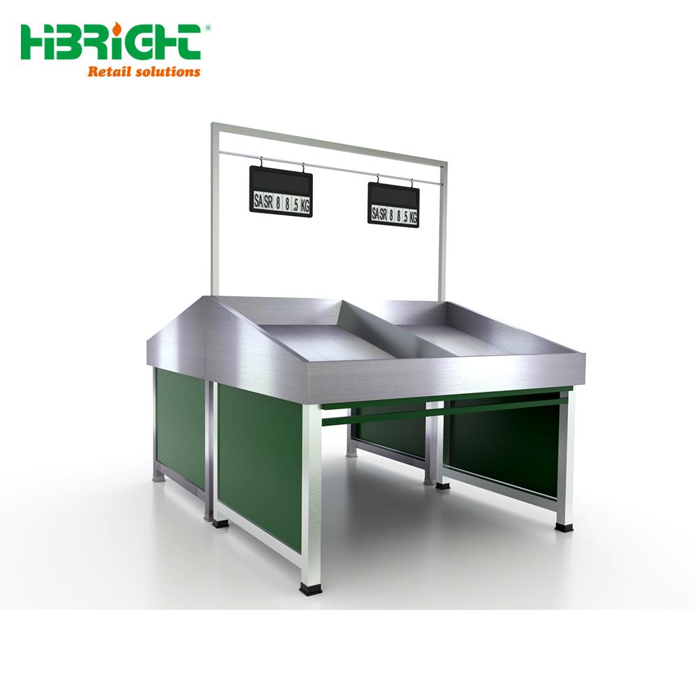 Durable Custom Made Stainless Steel Supermarket Vegetable Rack Fruit Display Stand