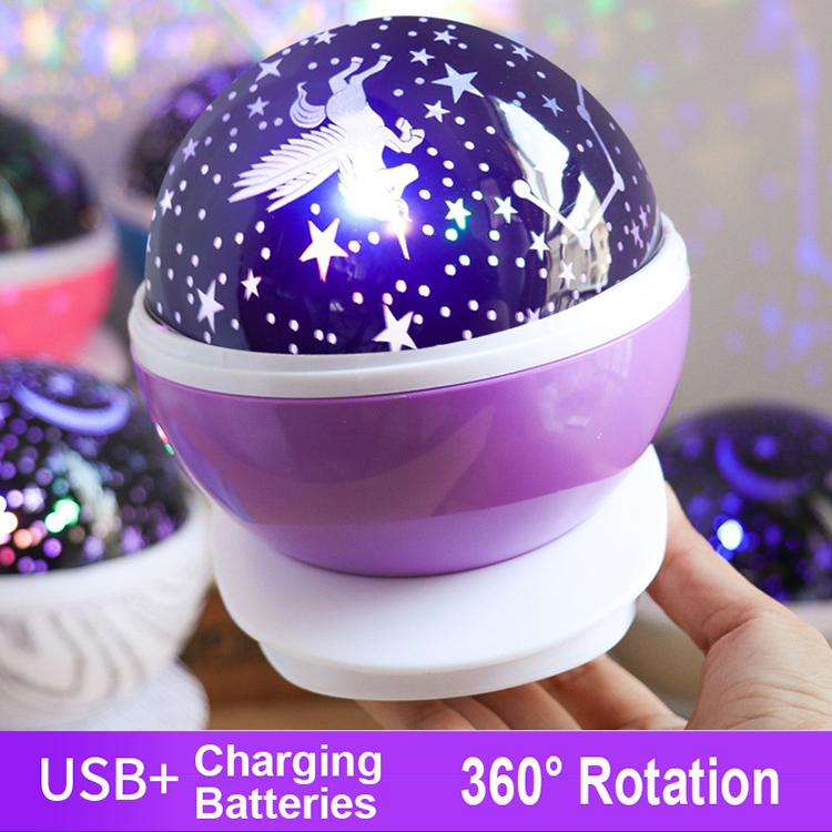 YJN5473 красочный романтический вращающийся проектор звездного неба для спальни светодиодный ночник
