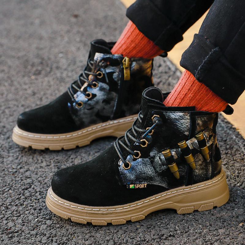 Зимняя новая модная детская обувь ручной работы удобные кожаные ботинки martin для девочек и мальчиков