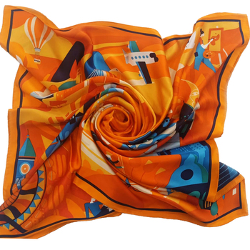 Custom Digital Printing 100% Silk Scarf 90*90cm Silk Square Scarf