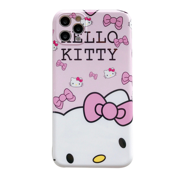 Lovely Pink Hello Kitty Bling Cute Phone Case For iPhone 12 Pro XS MAX 8 7 X/XS SE 2020 XR Blue Light IMD Silicone Phone Cover