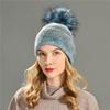 blue faux fur pom