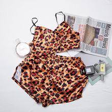 Женский пижамный комплект с леопардовым принтом HiLoc, атласная пижама с шортами на осень, домашний костюм на бретелях, Шелковый пижамный комп...(Китай)