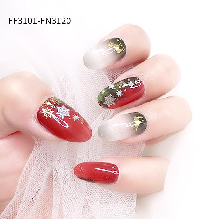 hot sale Chrismas nail Jel strips 2020 new designs nail wraps and nail art stickers
