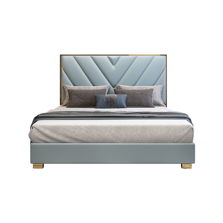 Postmodern light luxury master bedroom leather european-italian  marriage  hong kong-style double bed