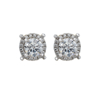 Diamond 925 Silver Stud Earrings Silverearrings 925 Stud Earrings Wedding Hiphop CZ Diamond 925 Silver Rhodium Plated Halo Stud Earrings