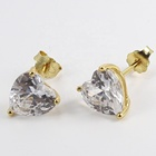 Diamond 14k Earring Silver Earrings Stud 925 Sterling Silver Wholesale Jewelry Rhodium Dainty Prong 5A 3A Diamond Big 14K Gold Heart Stud CZ Earring