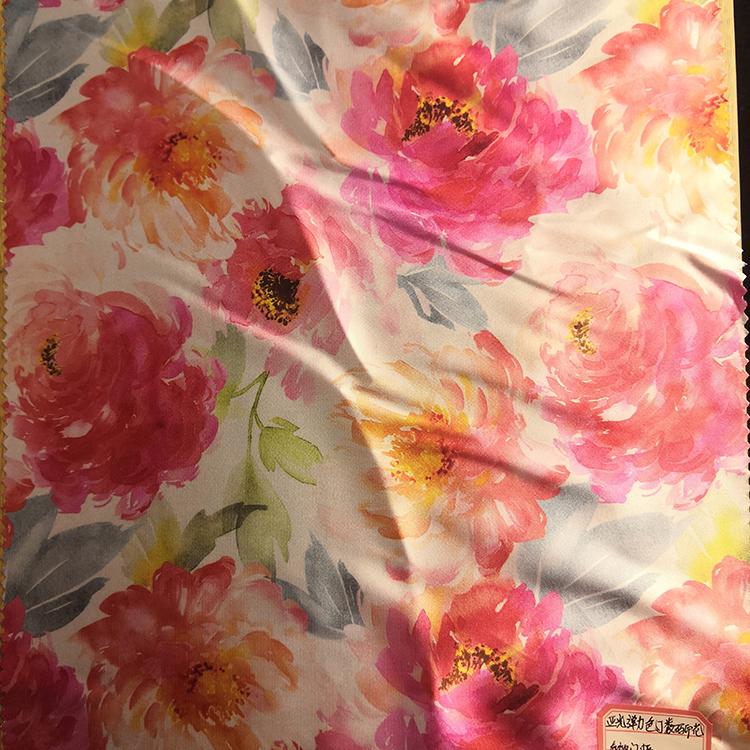 150CM Floral Satin Print Fabric Plain Woven Satin Cloth Cut Pieces for Scarves