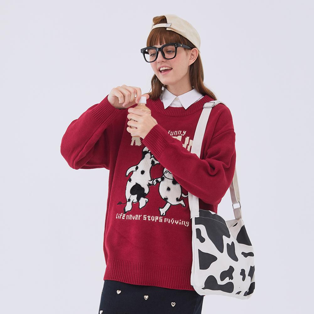Женский красный вязаный жаккардовый свитер с круглым вырезом и принтом коровы, пуловер большого размера