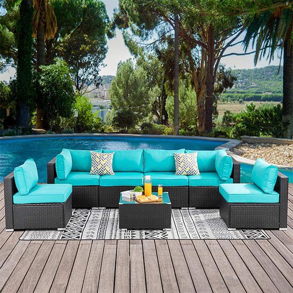 Полиэтиленовый ротанговый U-образный секционный диван, набор мебели, диваны для гостиной, модульные синтетические уличные Ротанговые/плетеные диваны