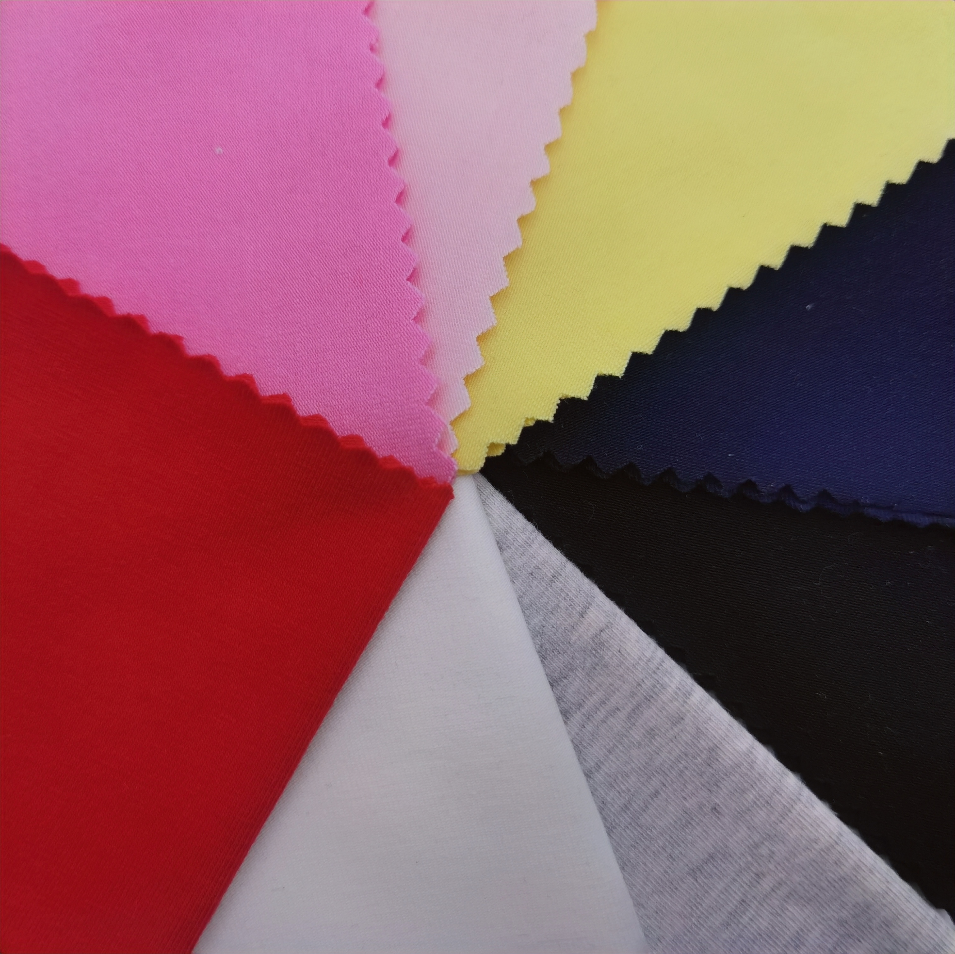 good factory 95 organic cotton 5spandex knitted combed jersey fabric for t-shirts baby garments towel