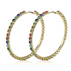 Hoop Earrings Luxury Personalized Gold Plated Big Round Hoop Bling Crystal Big Round Earrings Sparkly Rhinestone Hoop Earrings