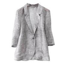 Женский пиджак, 50% шелк 50% лен сплошной 3/4 рукав одной кнопки офис леди пиджак 2019 Новая осень зима(Китай)