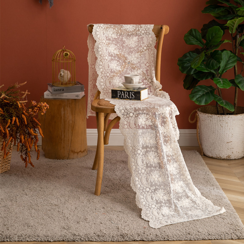 T014 French romantic white beige lace embroidered lace table flag wedding decor