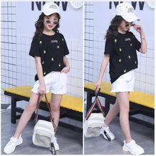 Комплект летней одежды для девочек, футболка с коротким рукавом + джинсовые шорты, одежда для подростков 7, 8, 9, 11, 12 лет, 2020(Китай)