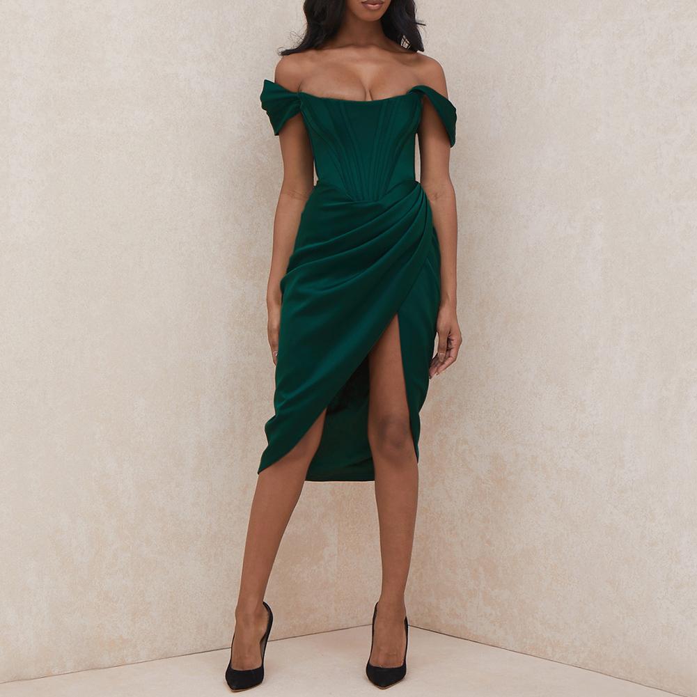 Trendy Cocktail Petite Kleider Smaragdgrün Rüschen Midi Kleid ...