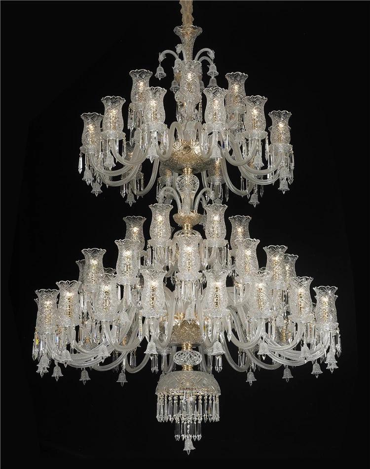 Meerosee Clear Crystal Chandelier Light Classic Crystal Pendant Lighting Baroque Crystal Pendant Light for Hotel  Villa MD87121