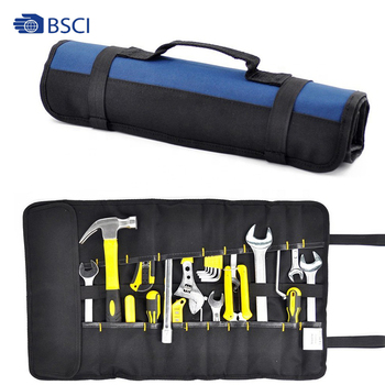 Professional multi pocket hardware tools pouch roll up electrical tools bags electrician rolling tool bag