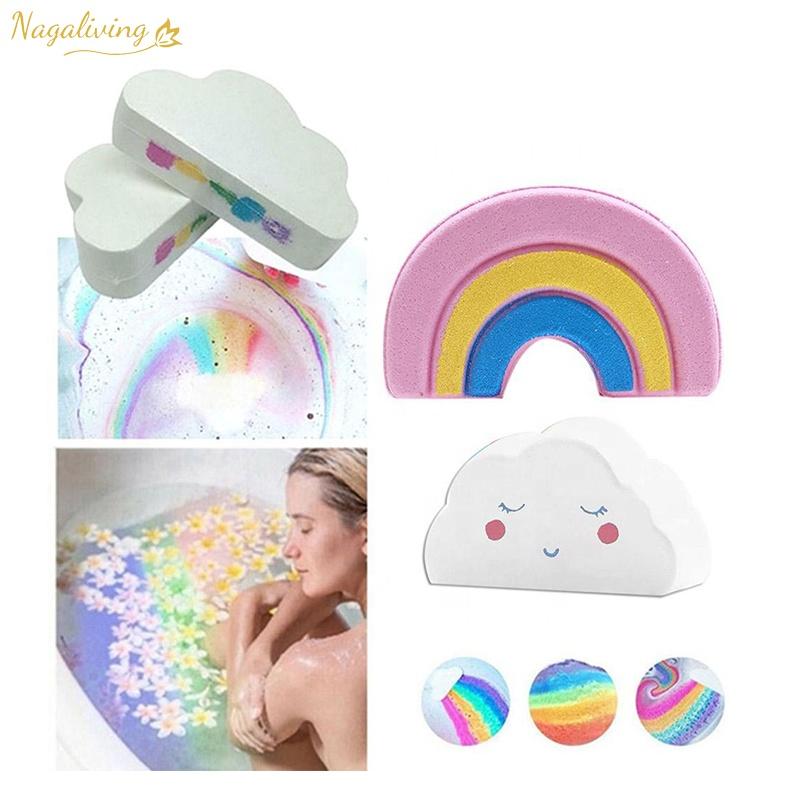 good sell in America colorful customized bath fizzies bathbombs cloud star rainbow bath bombs