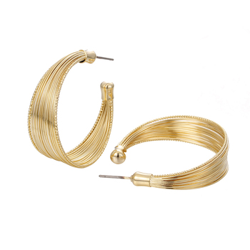 18k Gold Plated Classic Round Big Hoop Gold Earring Women Punk Earrings